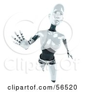 Royalty Free RF Clipart Illustration Of A 3d Femme Robot Character Reaching Outward Version 1 by Julos