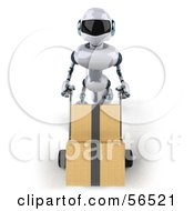 Royalty Free RF Clipart Illustration Of A 3d Techno Robot Character Pushing Boxes On A Dolly Version 3