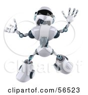 3d Techno Robot Character Jumping by Julos