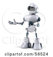 3d Techno Robot Character Gesturing To The Left Version 2 by Julos
