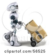 Royalty Free RF Clipart Illustration Of A 3d Techno Robot Character Pushing Boxes On A Dolly Version 1
