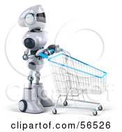 3d Techno Robot Character Pushing A Shopping Cart Version 2 by Julos