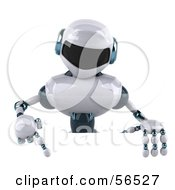 3d Techno Robot Character Pointing Down And Standing Behind A Blank Sign by Julos