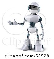 Royalty-Free (RF) Clipart Illustration of a 3d Techno Robot Character Gesturing To The Left - Version 1 by Julos #COLLC56528-0108