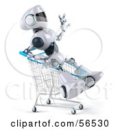 3d Techno Robot Character Riding In A Shopping Cart Version 2 by Julos