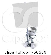 3d Techno Robot Character Holding A Blank Sign Version 3 by Julos