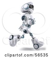 Royalty Free RF Clipart Illustration Of A 3d Techno Robot Character Running Right