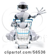 3d Techno Robot Character Riding In A Shopping Cart Version 1 by Julos