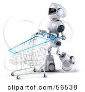3d Techno Robot Character Pushing A Shopping Cart Version 3 by Julos