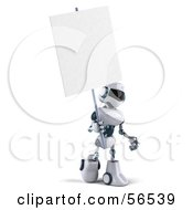 3d Techno Robot Character Holding A Blank Sign Version 2 by Julos