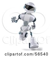 Royalty Free RF Clipart Illustration Of A 3d Techno Robot Character Running Forward