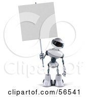 3d Techno Robot Character Holding A Blank Sign Version 1 by Julos