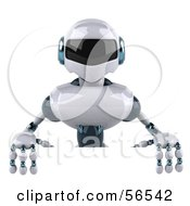 3d Techno Robot Character Standing Behind A Blank Sign by Julos