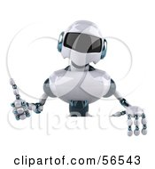 3d Techno Robot Character Giving The Thumbs Up And Standing Behind A Blank Sign by Julos