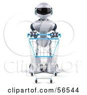 3d Techno Robot Character Pushing A Shopping Cart Version 1 by Julos