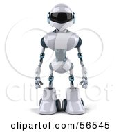 3d Techno Robot Character Standing And Facing Front
