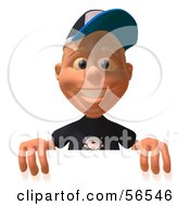 Royalty Free RF Clipart Illustration Of A 3d White Male Kid Standing Behind A Blank Sign by Julos