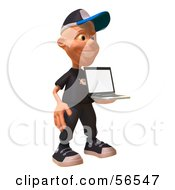Royalty Free RF Clipart Illustration Of A 3d White Male Kid Holding A Laptop Version 1 by Julos