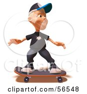 Royalty Free RF Clipart Illustration Of A 3d White Male Kid Skateboarding Version 3 by Julos