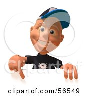 Royalty Free RF Clipart Illustration Of A 3d White Male Kid Pointing Down And Standing Behind A Blank Sign by Julos