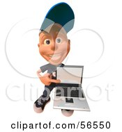 Royalty Free RF Clipart Illustration Of A 3d White Male Kid Holding A Laptop Version 3 by Julos