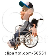 Royalty Free RF Clipart Illustration Of A 3d White Male Kid In A Wheelchair Version 2 by Julos