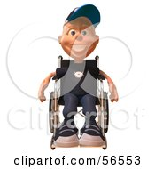 Royalty Free RF Clipart Illustration Of A 3d White Male Kid In A Wheelchair Version 1 by Julos