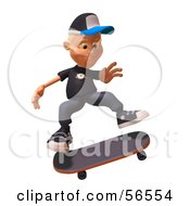 Royalty Free RF Clipart Illustration Of A 3d White Male Kid Skateboarding Version 1 by Julos