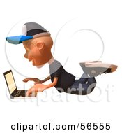 Royalty Free RF Clipart Illustration Of A 3d White Male Kid Using A Laptop Version 3 by Julos