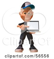 Royalty Free RF Clipart Illustration Of A 3d White Male Kid Holding A Laptop Version 2 by Julos