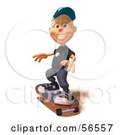 Royalty Free RF Clipart Illustration Of A 3d White Male Kid Skateboarding Version 2 by Julos