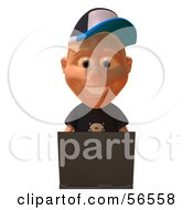 Royalty Free RF Clipart Illustration Of A 3d White Male Kid Using A Laptop Version 1 by Julos