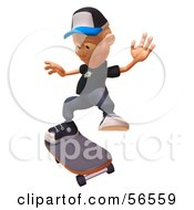 Royalty Free RF Clipart Illustration Of A 3d White Male Kid Skateboarding Version 5 by Julos
