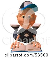 Royalty Free RF Clipart Illustration Of A 3d White Male Kid Reading On His Belly by Julos