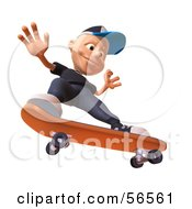Royalty Free RF Clipart Illustration Of A 3d White Male Kid Skateboarding Version 4 by Julos