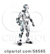 3d Athletic Robot Character Standing And Holding A Blue Soccer Ball - Version 2