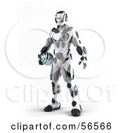 3d Athletic Robot Character Standing And Holding A Blue Soccer Ball - Version 1