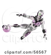 3d Athletic Robot Character Kicking A Purple Soccer Ball