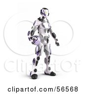3d Athletic Robot Character Standing And Holding A Purple Soccer Ball