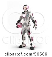 3d Athletic Robot Character Standing And Holding A Pink Soccer Ball