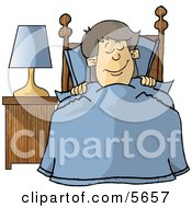 Happy Boy Sleeping In His Bedroom Clipart Illustration