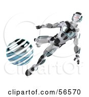 Royalty Free RF Clipart Illustration Of A 3d Athletic Robot Character Kicking A Blue Soccer Ball Version 2 by Julos