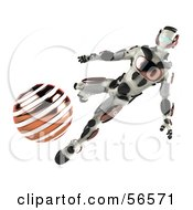3d Athletic Robot Character Kicking An Orange Soccer Ball