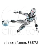 Royalty Free RF Clipart Illustration Of A 3d Athletic Robot Character Kicking A Blue Soccer Ball Version 1 by Julos