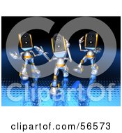 Royalty Free RF Clipart Illustration Of Three 3d Speaker Robot Characters Dancing Version 1
