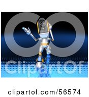 Royalty Free RF Clipart Illustration Of A 3d Speaker Robot Character Walking Forward And Gesturing Version 1