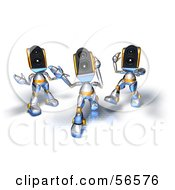 Royalty Free RF Clipart Illustration Of Three 3d Speaker Robot Characters Dancing Version 3