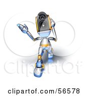 Royalty Free RF Clipart Illustration Of A 3d Speaker Robot Character Walking Forward And Gesturing Version 2