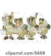 Boy Scout Troops And Scout Leader Waving Goodbye Before Backpacking Clipart Illustration by Dennis Cox