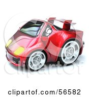 Royalty Free RF Clipart Illustration Of A 3d Red Compact Sports Car Version 2 by Julos
